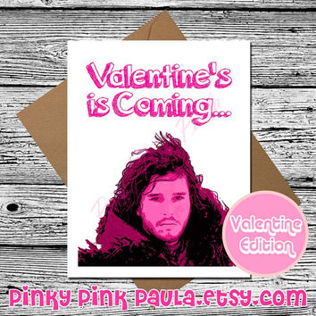 Jon Snow Card (Funny Valentine Card. Card Her. Valentines Day Card. Love Card For Him. Game Of Thrones. I Love You Card. You Know Nothing)