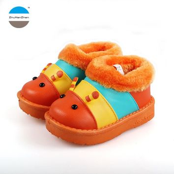 Winter warm 1 to 6 years old kids cotton shoes baby boys and girls household shoes childrens sneakers cartoon caterpillar design