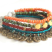 Colours of the orient - beaded bracelet multiple strands - Indian summer - ethnic jewelry - gypsy dangle bracelet