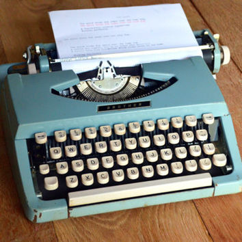 Christmas SALE - BABY BLUE Vintage Typewriter - Brother Portable 100 - Working Perfectly