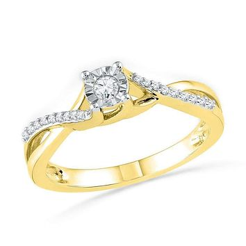 10kt Yellow Gold Womens Round Diamond Solitaire Twist Bridal Wedding Engagement Ring 1/6 Cttw