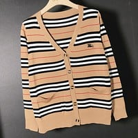 Burberry Fashion New Stripe Long Sleeve Top Coat Cardigan Women