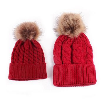 2PC Fashion Mother & Child Baby Warm Winter Soft Knit Cotton Beanie Fur Pom Hat Crochet Ski Knit Beanie Party Cap 2016 New Hot
