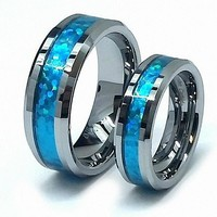 Polished Beveled Edge Blue Opal Inlay Wedding Band Ring Set