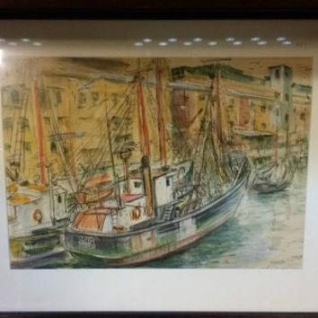 Picture Vintage Original Signed Boston Fishery Art Collectible Approx 21 x 17