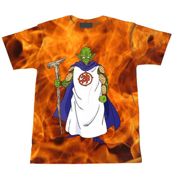 Old King Piccolo Dragon Ball Z Tie Dye Bleach Flaming Fire T-Shirt