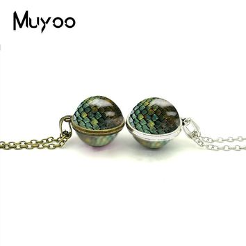 2018 New Dragon Eggs Double Sided Necklace Game Of Thrones Pendant Glass Dome Photo Necklaces Silver Bronze Jewelry