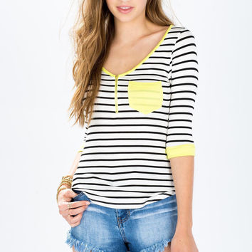 Summer V-neck Stripes Zippers Striped Tee T-shirts = 4807023684