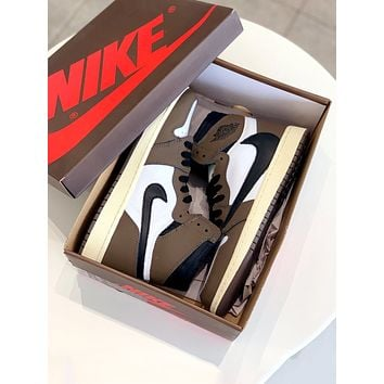 Travis Scott X Air Jordan 1 joint name barbs men and women high-top shoes