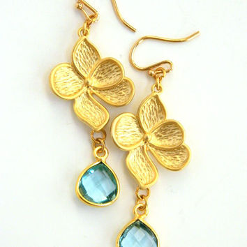 Blue Topaz and Gold Flower Earrings Handcrafted Gemstone Dangle Short