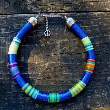 Choker, Tribal Necklace, African Necklaces, Rope Choker, African Necklace, Aztec Necklace, African Necklaces, for Her, African Jewelry