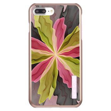 Joy, Pink Green Anthracite Fantasy Flower Fractal Incipio DualPro Shine iPhone 7 Plus Case
