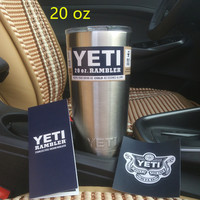 Yeti 20 oz Cups Cooler YETI Rambler Tumbler Travel Vehicle Beer Mug Double Wall Bilayer Vacuum Insulated 304 Stainless Steel
