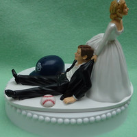 Wedding Cake Topper San Diego Padres SD Baseball Themed w/ Garter, Display Box