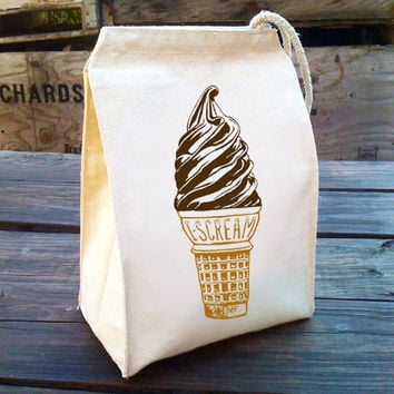 Eco I Scream for Ice Cream Lunch Bag with yummy design, Recycled Cotton Canvas Snack sack with rope handle, velcro, and caramel cocoa ink