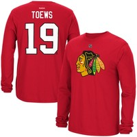 Mens Chicago Blackhawks Jonathon Toews Reebok Red Long Sleeve Player Name & Number T-Shirt
