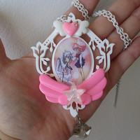 Sailor Moon Necklace -HELIOS & CHIBI MOON - Pegasus and Chibusa - Fairy Kei, Pastel Goth