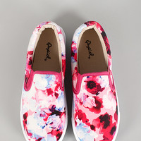 Qupid Watercolor Floral Fabric Slip On Sneaker
