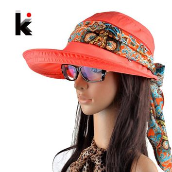 Free summer hats for women chapeu feminino new fashion visors cap sun collapsible anti-uv hat 6 colors