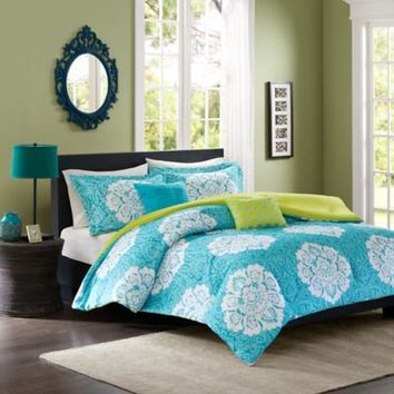 Tanya Reversible Comforter Set in Blue
