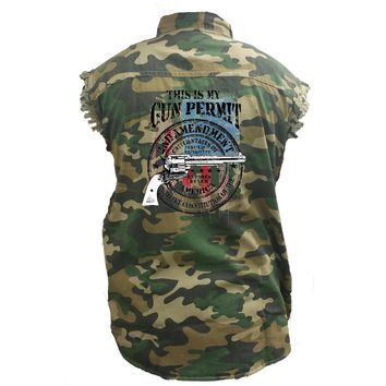 Men's Camo Sleeveless Denim Shirt This Is My Gun Permit, 2nd Amendment Denim Vest