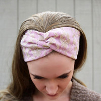 Mauve Headband, Gold Lace Headband, Mauve Vintage Headband, Gold Lace Faux Head Wrap for Women, Gold Floral Fabric Headband Adult