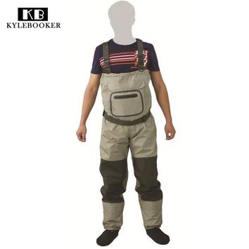 ONETOW 2017 New Fly Fishing Stocking Foot Chest Waders Affordable Breathable Waterproof Chest Wader KB002