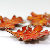 Ceramic fall leaves Home decor Fall decoration Rustic decor Farm house orange leaves Ceramic leaves fall leaf