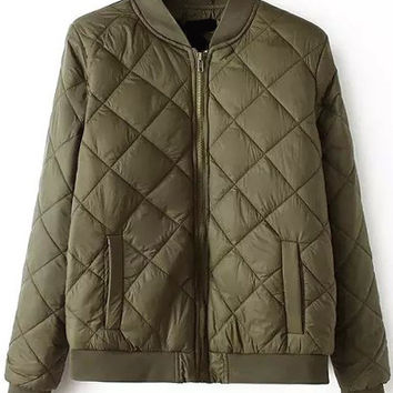 Quilted Double Pocket Zip-Up Coat