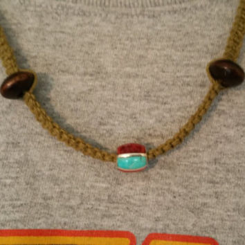 Hand Made Hemp Necklace with a Genuine Sterling Silver Real Turquoise and Red Oyster Shell Inlay Bead