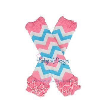 Baby Girls Pink n Turquoise Chevron Stripe Ruffle Legwarmers. Baby Leg Warmers.Girls Birthday Cake Smash Prop Striped Footless Socks Cheer
