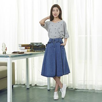 women denim skirt jeans high waist woman skirts sexy school girl fashion denim all match blue midi skirt student casual hot wear