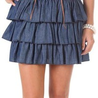 chambray ruffle skirt with faux lace up waist - debshops.com