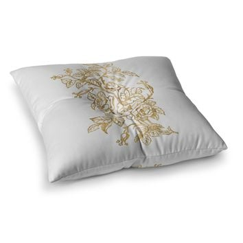 "888 Design ""Golden Vintage Rose"" Floral Digital Square Floor Pillow"
