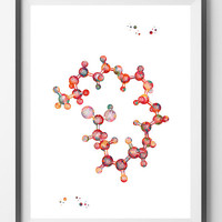 DHA watercolor print Omega-3 Fatty Acid Docosahexaenoic chemical structure poster gray matter science art print medical art neurology print