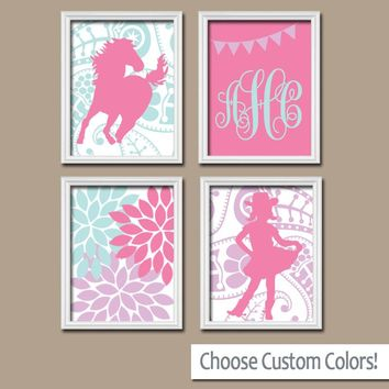 COWGIRL Wall Art,Horse CANVAS or Print,Paisley Horse Decor,Pink Purple Bedroom Wall Decor,Baby Girl Cowgirl Nursery,Girl Monogram Set of 4