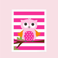 Pink and Orange Owl on Hot Pink Stripes, Animal, Baby Nursery Art CUSTOMIZE YOUR COLORS 8x10 Prints Nursery Decor Print Art Baby Room Decor