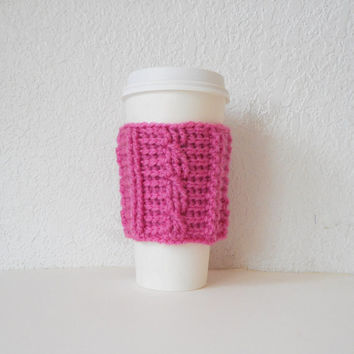 Cable Stitch Coffee Cozy in Pink, ready to ship.