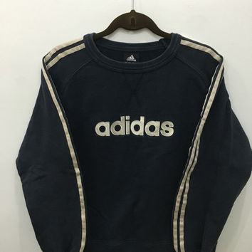 Vintage 90's Adidas Classic Design Skate Sweat Shirt Sweater Varsity Jacket Size L #A68