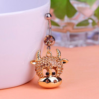 Gold Cow Gem Belly Ring