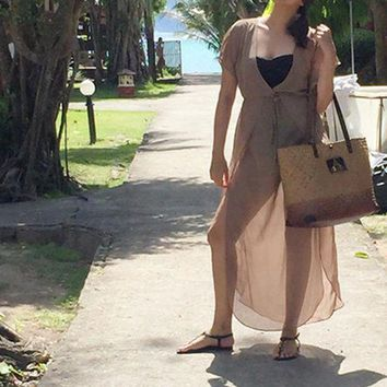 PEAPGC3 2017 New Ladies Swimsuit cover up Brown Waist V Neck Dresses Summer Beachwear Bathing suit cover ups Sexy Long Dress Beach Tunic