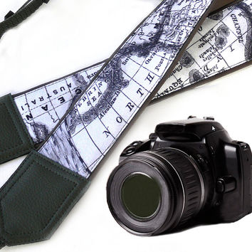 Grey World Map Camera Strap. DSLR / SLR Camera Strap. North America. Australia. For Sony, canon, nikon, panasonic, fuji and other cameras.