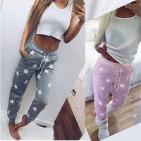 Women's Fashion Sexy Star Print Drawstring Pencil Pants Sports & Outdoor Active Pants [8805173639]