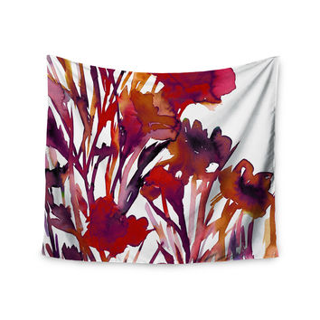 "Ebi Emporium ""Pocket Full Of Posies Red"" Maroon Purple Wall Tapestry"