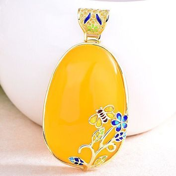 Cloisonne Butterfly Flower Yellow Natural Chalcedony 925 Pendant