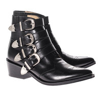 Toga Pulla Cowboy Cool Black Leather ankle boots with buckles - Shoes