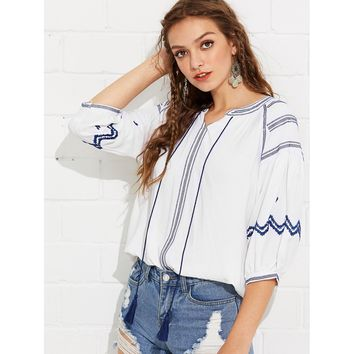 White Tassel Detail Embroidered Blouse