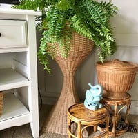 Contemporary Wicker Plant Stand,30 Inch Tall Rattan Plant Stand, Standing Plant Pot Holder,  Large Porch Planter, Porch Decor