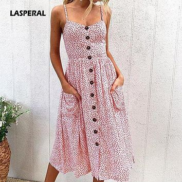 LASPERAL 2018 New Women Spaghetti Strap Dress Boho Style Beach Summer Dress Polka Dot Button Dresses With Pockets Party Vestidos