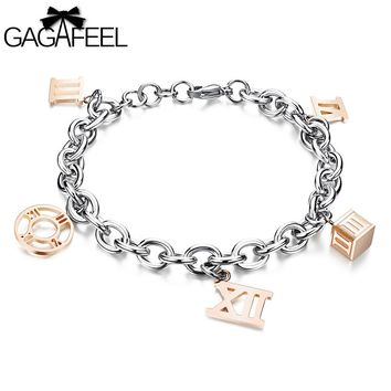 GAGAFEEL Elegant Numeral Silver Rose Gold Color Stainless Steel Adjustable Bracelet Watch Bangle Link Chain For Women Jewelry